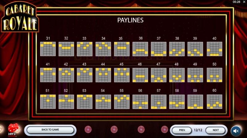 Cabaret Royale :: Paylines 31-60