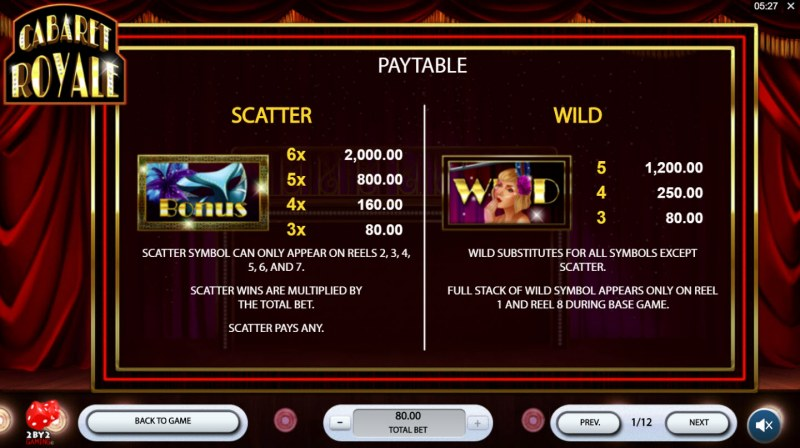Cabaret Royale :: Wild and Scatter Rules