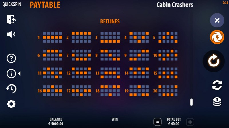 Cabin Crashers :: Paylines 1-20