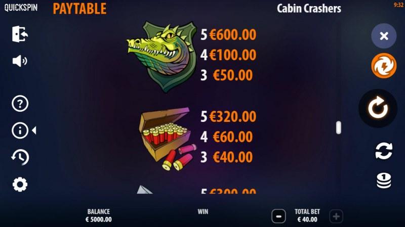 Cabin Crashers :: Paytable - Medium Value Symbols