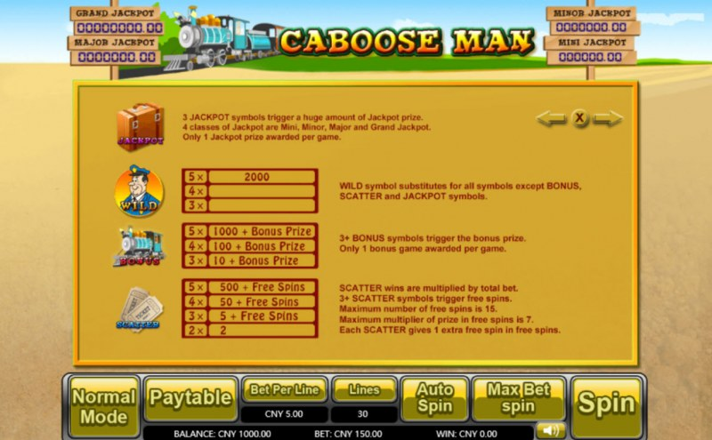 Caboose Man :: Bonus, Jackpot, Scatter and Wild Rules