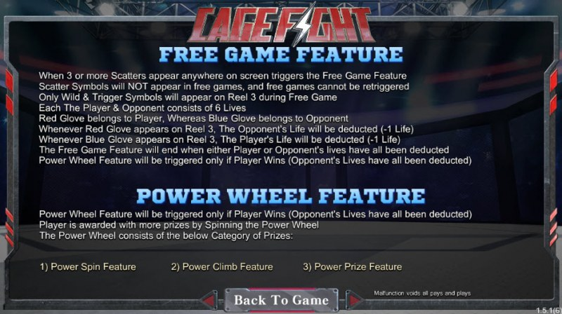 Cage Fight :: Free Spins Rules
