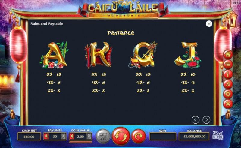 Caifu Laile :: Paytable - Medium Value Symbols