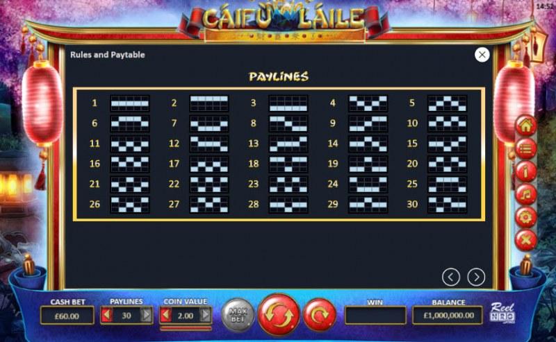 Caifu Laile :: Paylines 1-30