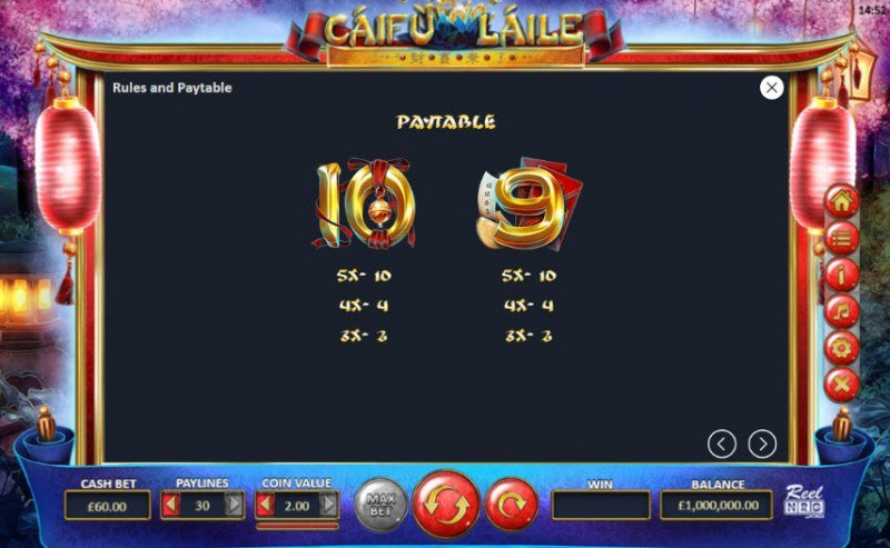 Caifu Laile :: Paytable - Low Value Symbols