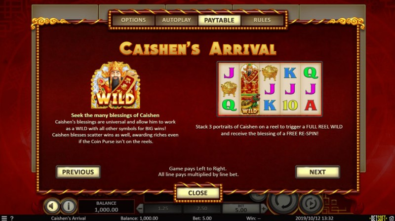 Play slots at Africa Casino: Africa Casino featuring the Video Slots Caishen Arrival with a maximum payout of $169,000