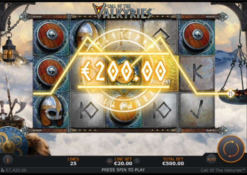 Call of the Valkyries :: A three of a kind win