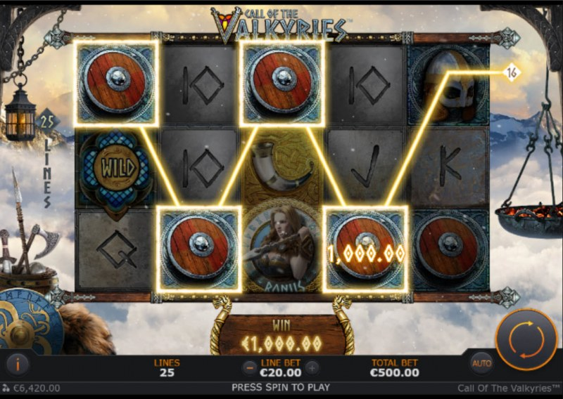 Call of the Valkyries :: A four of a kind win