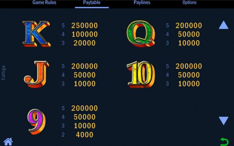 Calliga :: Paytable - Low Value Symbols
