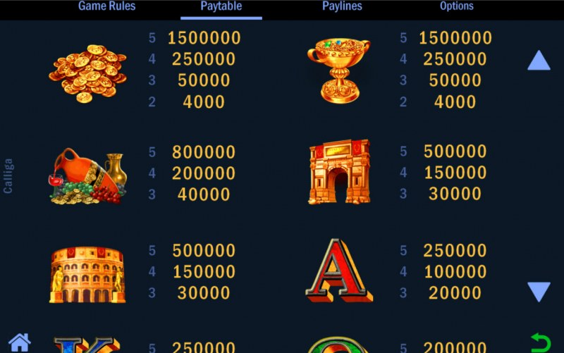 Calliga :: Paytable - High Value Symbols