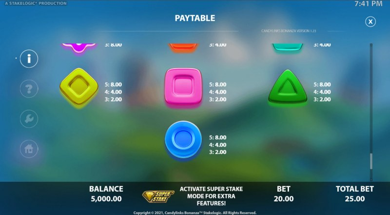 Candy Links Bonanza :: Paytable - Low Value Symbols