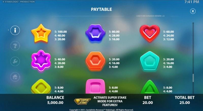 Candy Links Bonanza :: Paytable - High Value Symbols