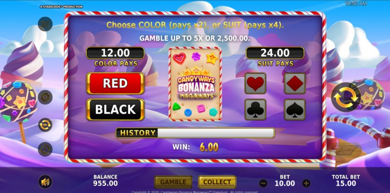Candyways Bonanza Megaways :: Gamble feature available after every win