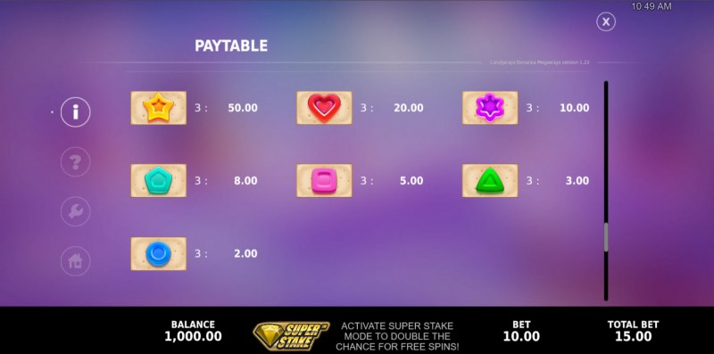 Candyways Bonanza Megaways :: Paytable