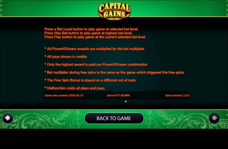 Capital Gains :: General Game Rules