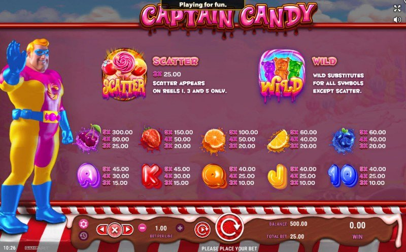 Captain Candy :: Paytable