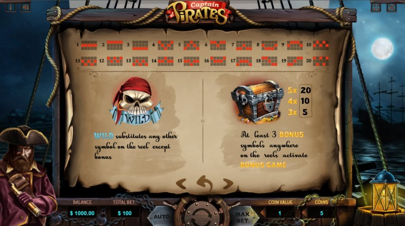 Captain of Pirates :: Wild and Scatter Rules