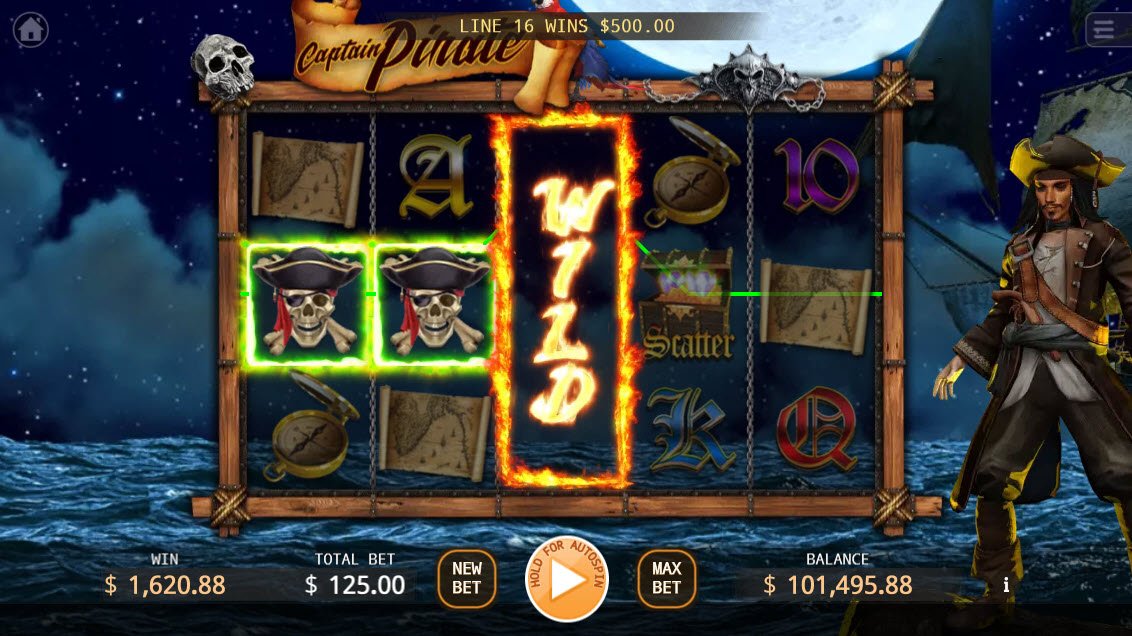 Captain Pirate :: Stacked wild symbol triggers multiple winning paylines