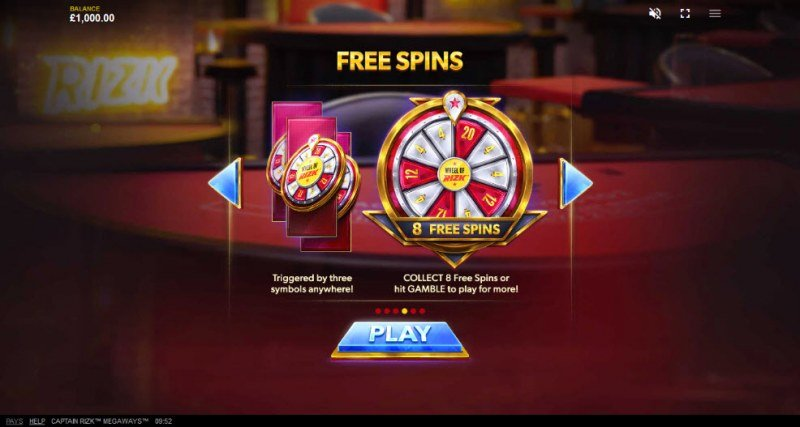 Captain Rizk Megaways :: Free Spins Rules