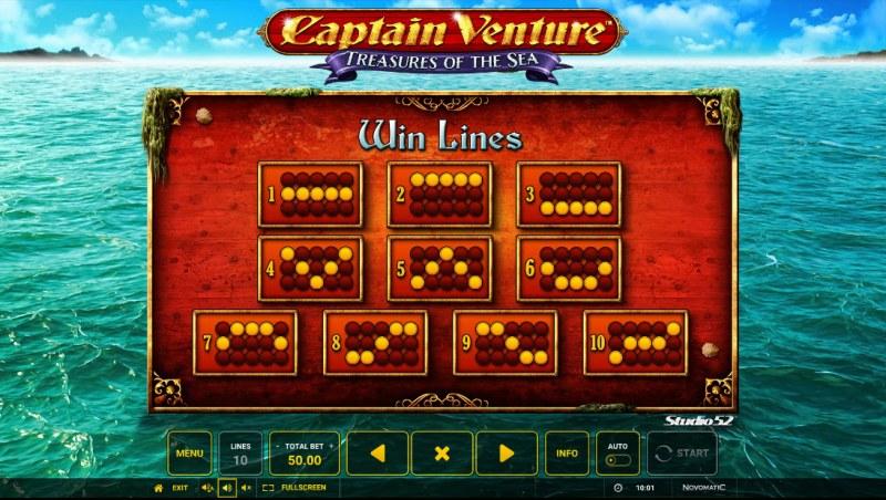 Captain Venture Treasures of the Sea :: Paylines 1-10