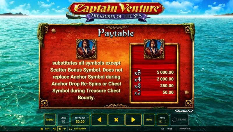 Captain Venture Treasures of the Sea :: Wild Symbol Rules