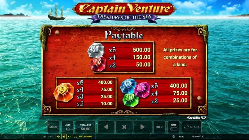 Captain Venture Treasures of the Sea :: Paytable - Low Value Symbols