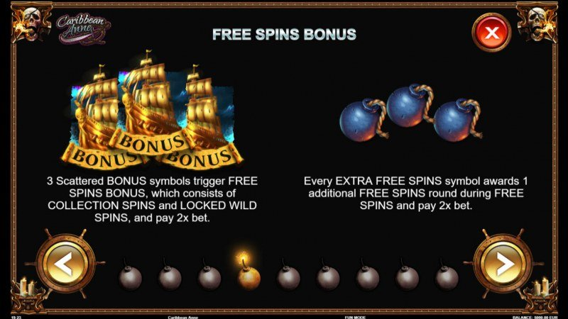 Caribbean Anne :: Free Spins Rules