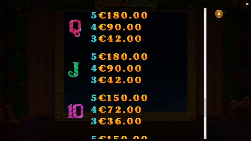 Carol of the Elves :: Paytable - Low Value Symbols