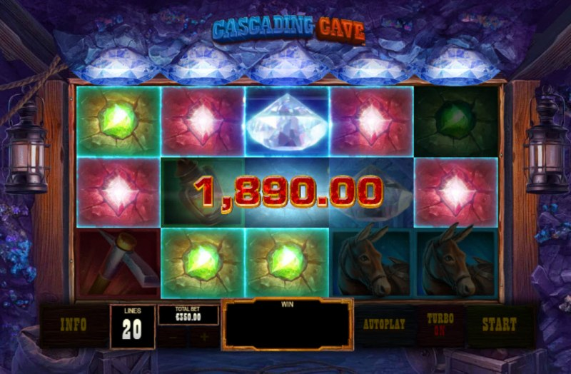 Cascading Cave :: A five of a kind win