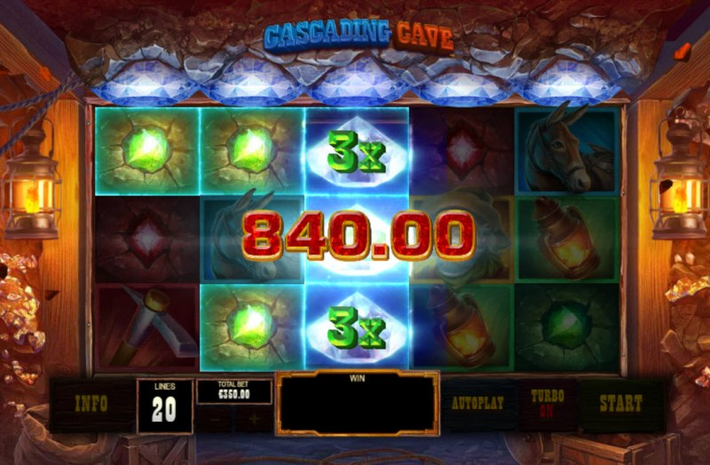 Cascading Cave :: Stacked 3X wilds triggers multiple winning paylines