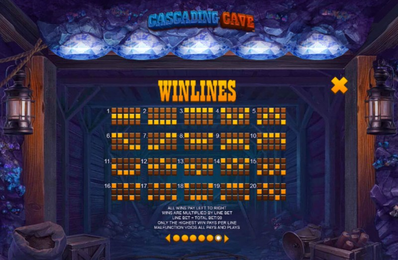 Cascading Cave :: Paylines 1-20
