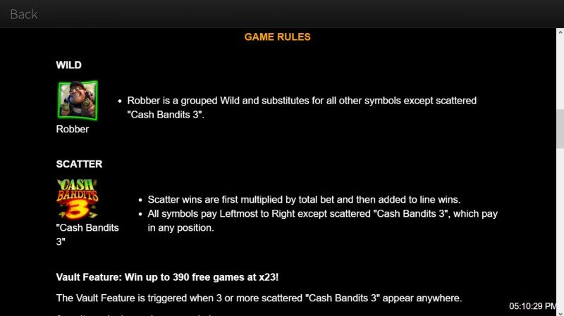 Cash Bandits 3 :: Wild and Scatter Rules