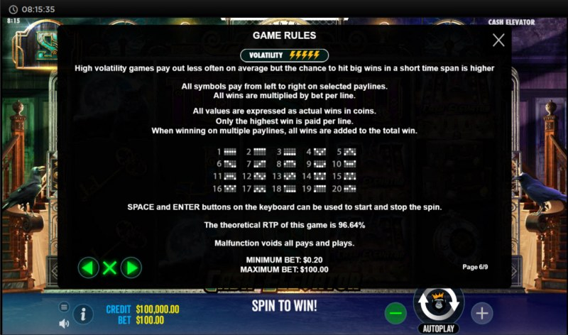 Cash Elevator :: General Game Rules