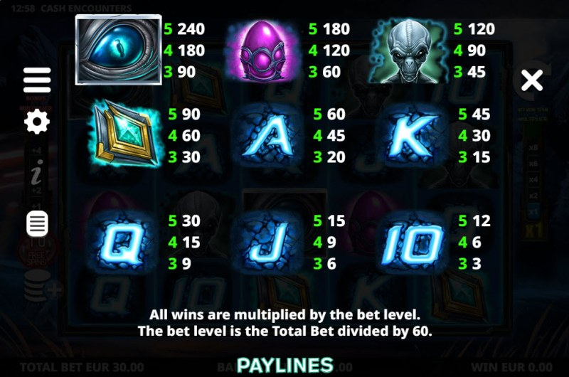 Cash Encounters :: Paytable