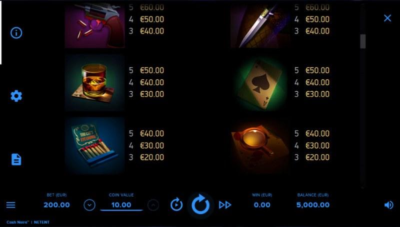 Cash Noire :: Paytable - Low Value Symbols