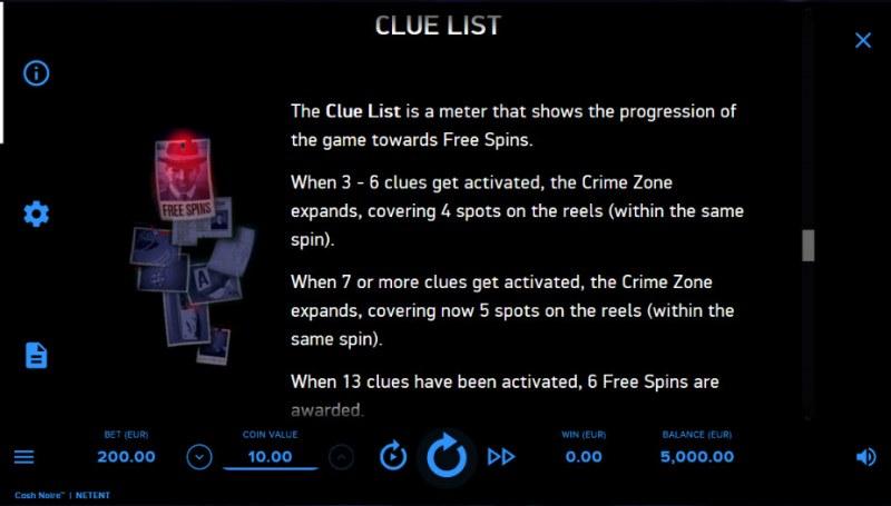 Cash Noire :: Clue List