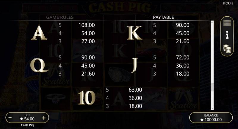 Cash Pig :: Paytable - Low Value Symbols