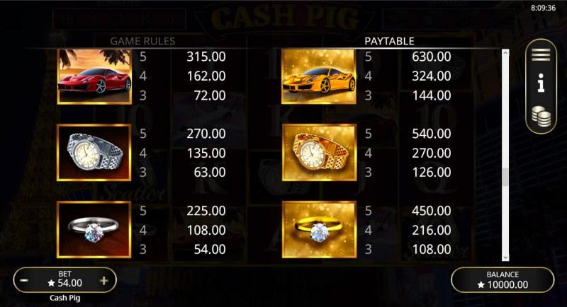 Cash Pig :: Paytable - High Value Symbols
