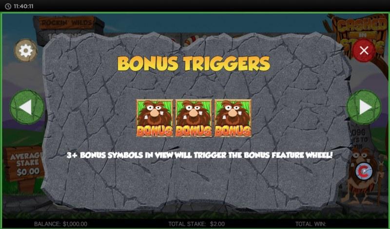 Cashed in Stone :: Bonus Triggers