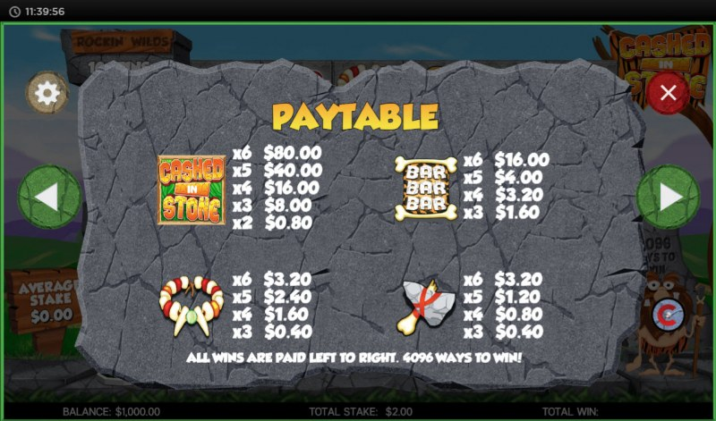Cashed in Stone :: Paytable - High Value Symbols