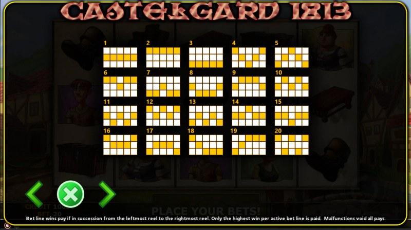 Castlegard 1813 :: Paylines 1-20