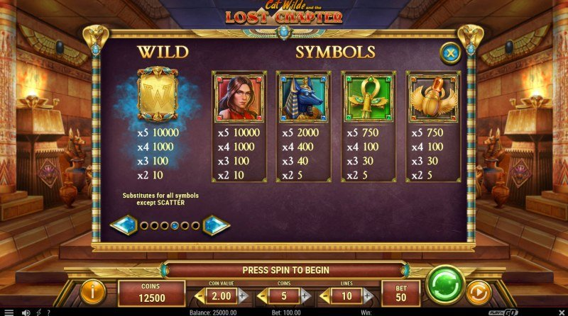 Cat Wilde and the Lost Chapter :: Paytable - High Value Symbols