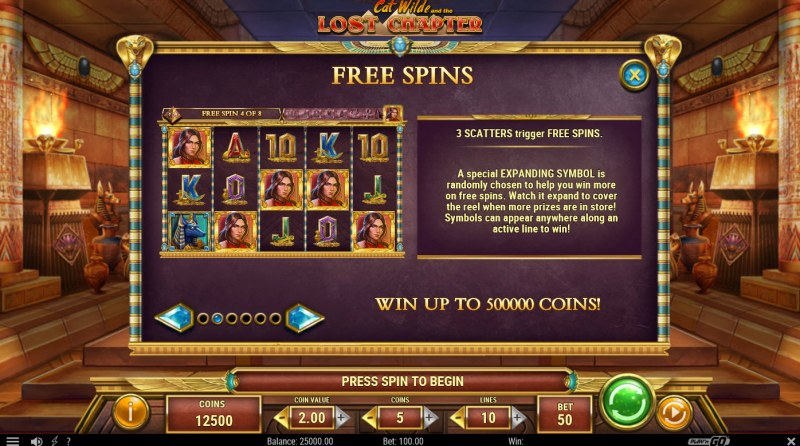 Cat Wilde and the Lost Chapter :: Free Spin Feature Rules