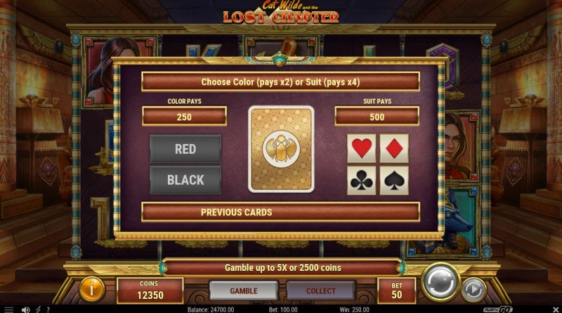 Cat Wilde and the Lost Chapter :: Gamble feature available after every win