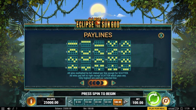 Cat Wilde in the Eclipse of the Sun God :: Paylines 1-20