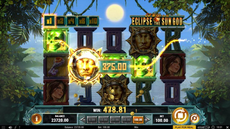Cat Wilde in the Eclipse of the Sun God :: Winning symbols are removed from the reels and new symbols drop in place