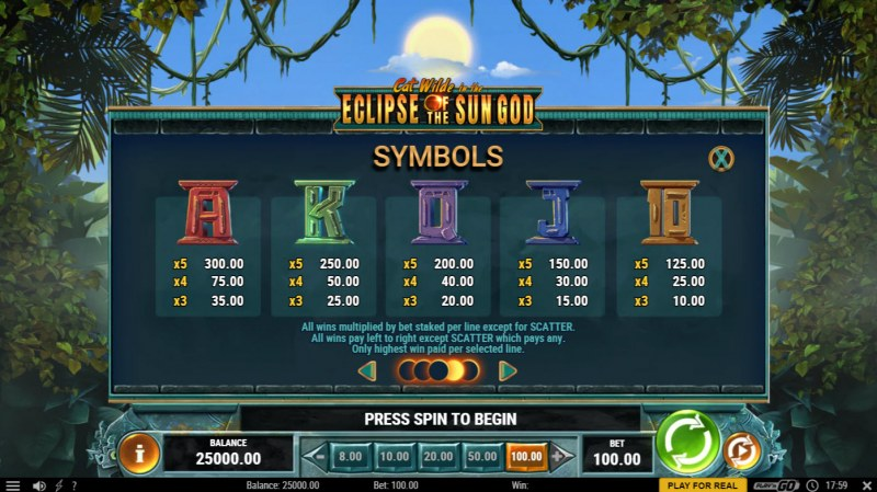 Cat Wilde in the Eclipse of the Sun God :: Paytable - Low Value Symbols