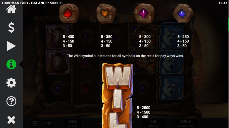 Caveman Bob :: Paytable - Low Value Symbols