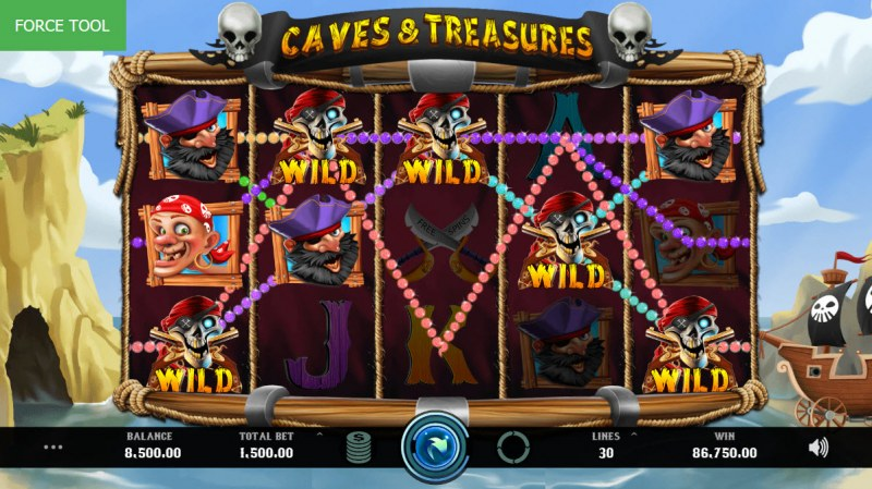 Caves & Treasures :: Multiple winning combinations leads to a big win