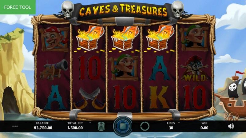 Caves & Treasures :: Scatter symbols triggers bonus feature